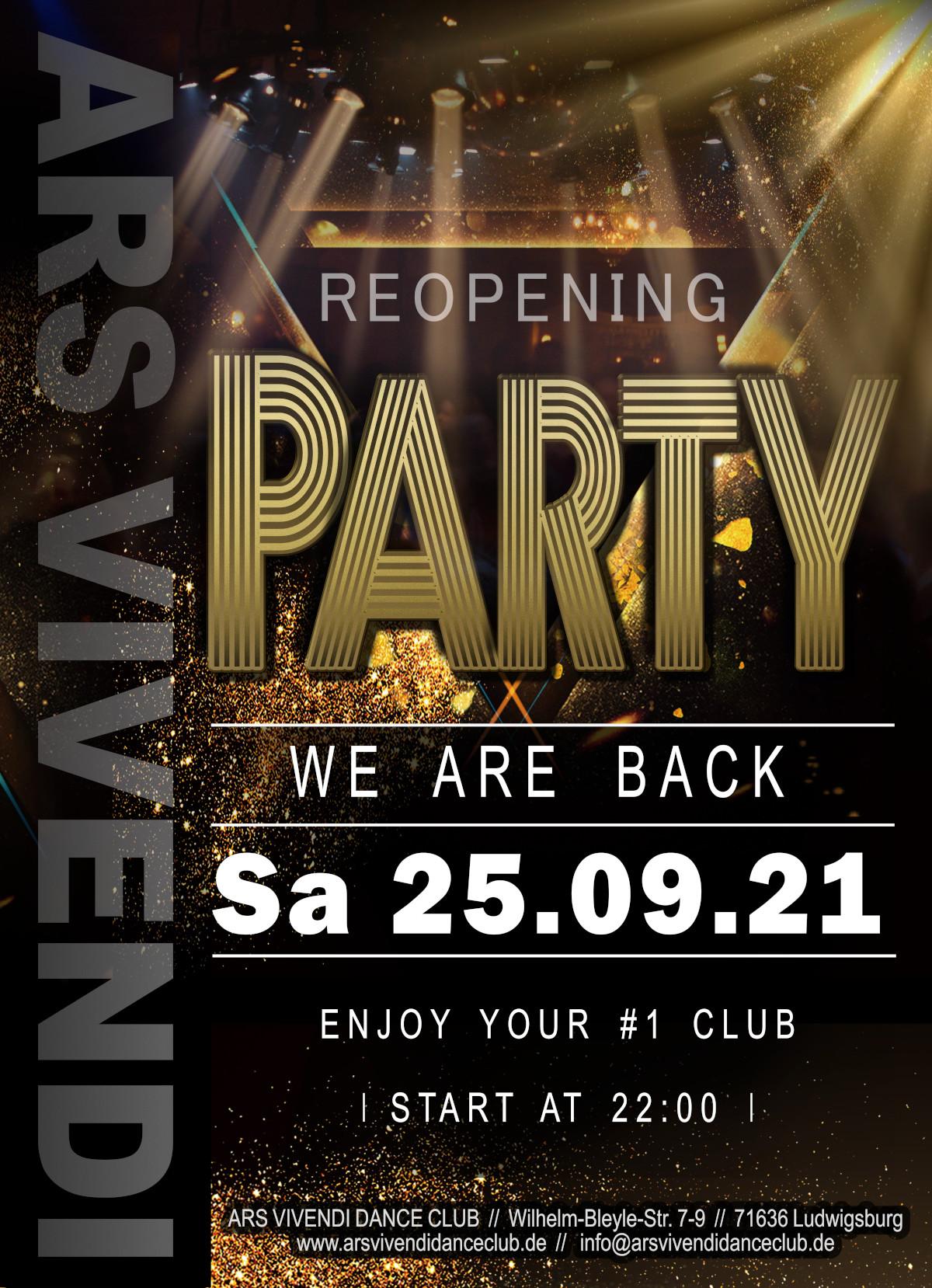 Reopening Party am Sa 25.09.21